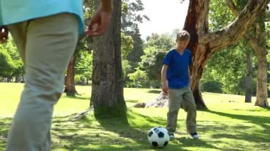 Smiling man playing with a soccer ball with his son — Stock Video
