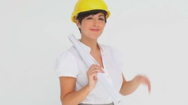 Businesswoman trying on a hard hat — Stock Video
