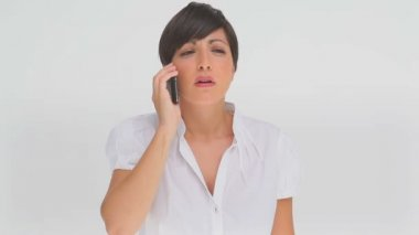 Businesswoman upset as she talks on a phone — Stock Video