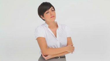 Iş kadını yalnız contemplating — Stok video