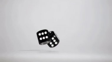 Two black dices in super slow motion rebonding — Stock Video