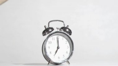 Alarm clock sounds in a super slow motion crushing by a hammer — Stock Video