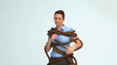Woman attached with a rope — Stock Video
