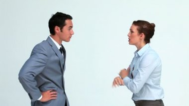 Business co-workers quarreling — Stock Video