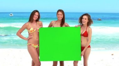 Three girls hold a green screen — Stock Video