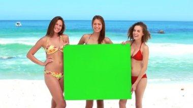 Three girls hold a green screen — Stock Video