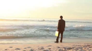 Businessman standing on the shore — Stockvideo