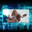 Young people with video games videos on digital background - Foto Stock