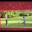 Montage of family outdoors clips on cellular background — Stock Video
