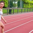 Two women in relay race — Stock Video