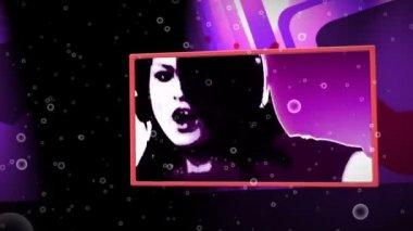Montaj clubbing ve animasyonlu arka planda müzik videoları — Stok video