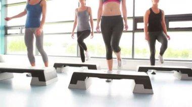 Vrouwen doen aerobics — Stockvideo