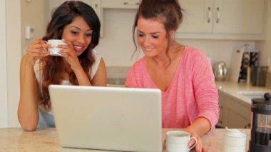 Women laughing at laptop — Stock Video