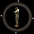 Figure of man revolving in dial circle — Stock Video