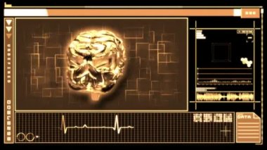 Medical digital interface showing brain — Stock Video
