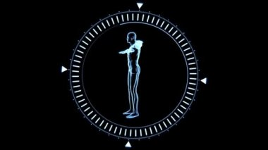 Revolving figure of man man in moving dial circle — Stock Video