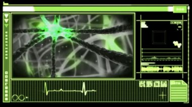 Digital interface showing neuron moving through nervous system — Stock Video