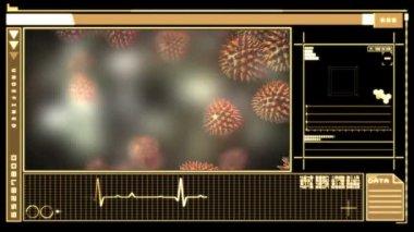 Digital interface showing virus — Stock Video