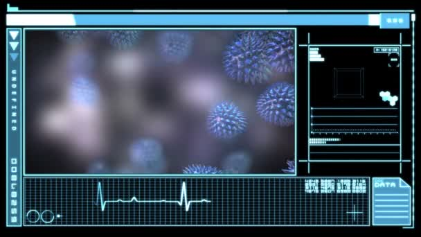 Virus muestra interfaz digital — Vídeo de stock
