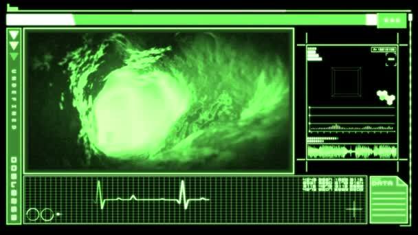 Interfaz digital mostrando bloodflow a través de la vena — Vídeo de stock
