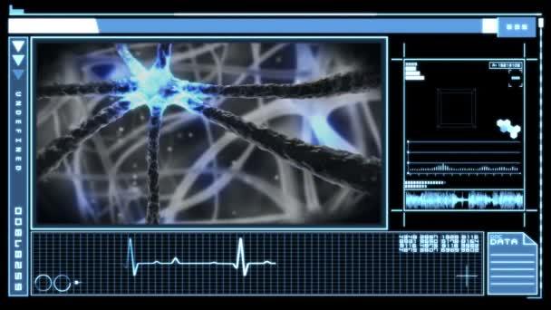 Interfaz digital mostrando neurona impulsos a través del sistema nervioso — Vídeo de stock