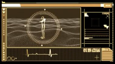 Digital interface displaying revolving human figure — Stock Video