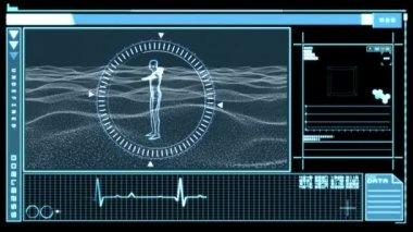 Digitalt gränssnitt visar roterande bild av människan — Stockvideo