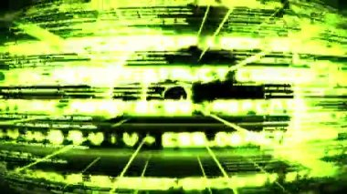 зеленый текст и круги разворачиваться — Стоковое видео