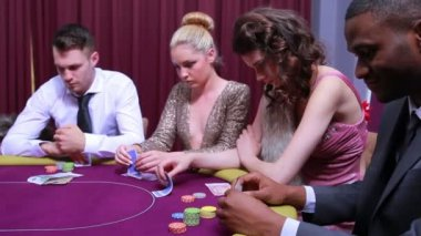 Folding at poker game — Stock Video