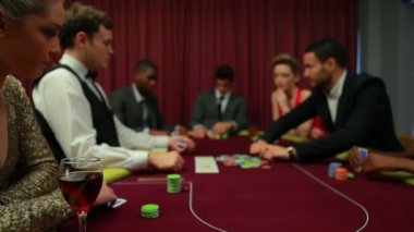 Two men left in poker game with everyone else folding — Stock Video