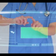 Doctor scrolling though interactive menu with copyspace — Vidéo