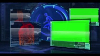 Parts of a human body being monitored on medical digital background with copyspace — Stock Video