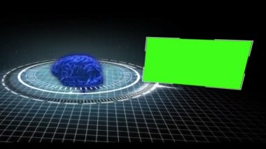 Rotating brain in a circle with appearing copy spaces — Stock Video