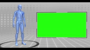 Revolving walking and running human figure with chroma keys — Stock Video