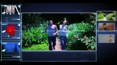 Menu interface of jogging skeleton showing clips of peopleat the gym — Stock Video