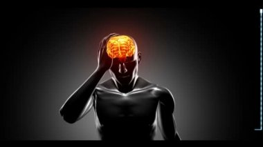 Revolving figure with highlighted brain show headaches — Stock Video