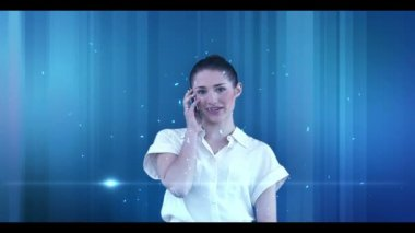 Businesswoman phoning with copyspaces appearing — Stock Video