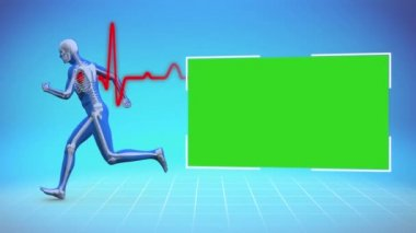 Skeleton running next to chroma key — Stock Video