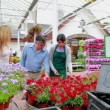 Couple and assistant standing at the garden centre - Stock Photo
