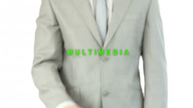 Man touching holographic multimemedia button — 图库视频影像