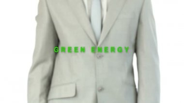 Businessman pressing the green energy button — Vidéo