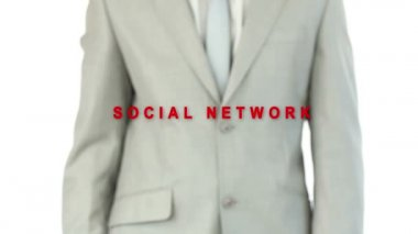 Business man pushing the social network button — ストックビデオ