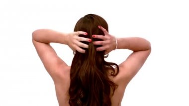 Woman shaking out her hair — Stock Video