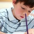 Stock Video: Pupil writing on his notebook