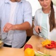 Couple preparing a salad — Stock Video #21498531