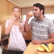 Stock Video: Couple drinking smoothies