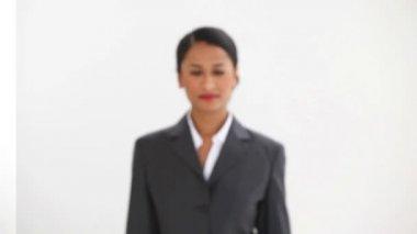 Beautiful businesswoman posing — Stock Video