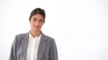 Black haired businesswoman — Stock Video