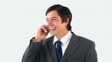 携帯電話で話している幸せな男 — ストックビデオ
