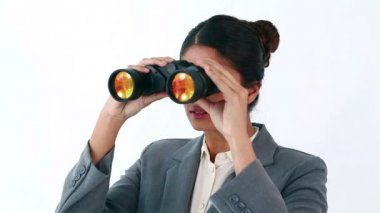 Secretary looking through binoculars (Remove) — Video Stock
